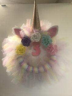 My daughter's unicorn wreath for her birthday! Homemade Wreaths, Diy Wreath, 3rd Birthday, Flower Arrangements, Unicorn, Daughter, Crafty, Christmas Ornaments, Holiday Decor