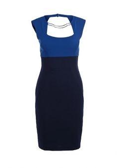 Коктейльное платье от американского бренда премиум-класса BCBGMaxAzria. Модель приталенная, средней длины, с подкладкой, выполнена из комбинации плотных тканей темно-синего и синего цвета. Особенности: глубокий вырез сложной формы на передней части и спинке, застежка-молния и две пуговицы на спинке, два металлических элемента в форме колье на линии выреза, шлица на спинке. http://j.mp/1z80jte