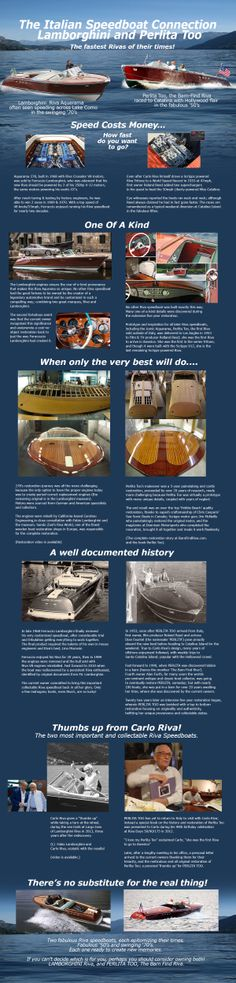 LAMBORGHINI & PERLITA TOO INFOGRAPHIC ~ two extraordinary Riva Speedboats ~ one from the Fabulous 1950s and one from the Swinging 1960s.