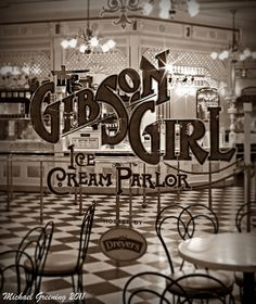 gibson girl ice cream parlor. I am going to take this picture and make a huge print of it for my (eventual) dining room. This is perfect. Absolutely perfect.