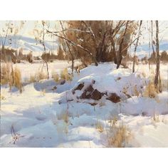 Landscape Ideas For Backyard Landscape Drawings, Watercolor Landscape, Landscape Art, Landscape Paintings, Watercolor Paintings, Painting Snow, Winter Painting, Winter Art, Traditional Paintings