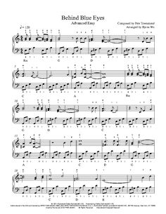 Behind Blue Eyes by The Who Piano Sheet Music | Advanced Level