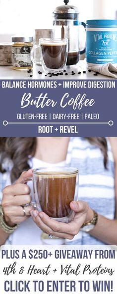 This healthy twist on bulletproof coffee or butter coffee is made with ghee or coconut oil--it will boost energy, aid in weight loss and balance hormones with cinnamon and maca powder. Collagen gives this Paleo butter coffee a protein boost that's great for skin, digestion, and inflammation!