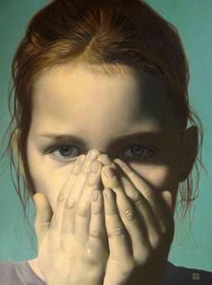 """Another Opinion"" - Yaroslav Kurbanov, Russia (b. 1968) {female head girl child face portrait painting}"
