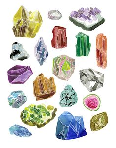 Gemstones 11x14 print by KatieVernon on Etsy