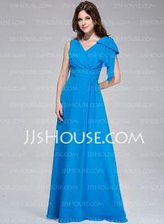 [US$ 118.99] A-Line/Princess V-neck Floor-Length Chiffon Evening Dress With Ruffle (007025452)