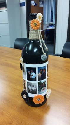 Day of the Dead.Family pics of my grandparents put onto an old painted wine bottle to be used on the ofrenda Empty Liquor Bottles, Day Of The Dead, Family Pictures, Grandparents, Wine, Day Of Dead, Grandmothers, Family Photos, Family Pics