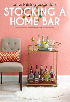 Bring the party to your place with this guide on stocking a home bar. Its important to consider everything from liquor to garnishes to glassware choices if you want to master the art of cocktail making at home. Home Bar Decor, Bar Cart Decor, First Apartment, Apartment Living, My Bar, Diy Décoration, Home Food, Bars For Home, My Dream Home