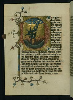 Illuminated Manuscript, Duke Albrecht's Table of Christian Faith (Winter Part), The Fall of Satan, Walters Art Museum Ms. Medieval Books, Medieval Manuscript, Medieval Art, Renaissance Art, Illuminated Letters, Illuminated Manuscript, Design Editorial, Illumination Art, Book Of Kells
