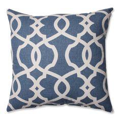 Pillow Perfect Lattice Damask Blue 16.5-inch Throw Pillow