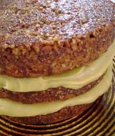 Pecan Pie Cake with Cinnamon Whipped Cream Custard Filling