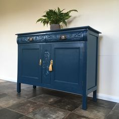 Antique Victorian Painted Carved Sideboard in Farrow and Ball Hague Blue Hague Blue, Painted Sideboard, Vintage Storage, Buffet, Victorian, Carving, Bathroom, Antiques, Furniture