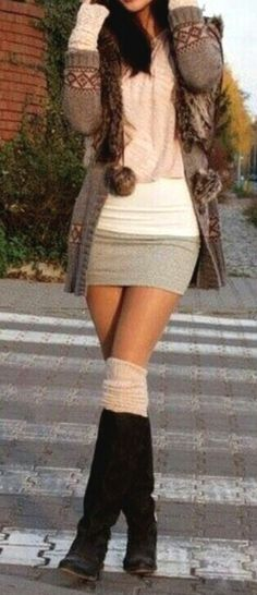 Skirt, Boots & Leggings!   Cute!!