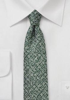 Krawatte Wolle gesprenkelt edelgrün