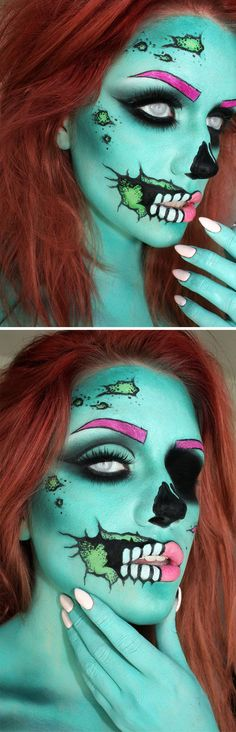 Pop Art Zombie Make-Up. Halloween make-up look Halloween Zombie, Fete Halloween, Halloween Makeup Looks, Halloween Design, Halloween Halloween, Halloween Decorations, Halloween Costumes, Pop Art Makeup, Crazy Makeup