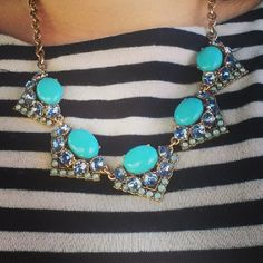 #stelladotstyle Rory necklace over navy/white stripes.