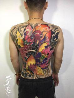 Full Back Tattoos, All Tattoos, Tatoos, Koi Fish Tattoo, Fish Tattoos, Japan Tattoo Design, Traditional Japanese Tattoos, Japanese Tattoo Art, Tattoos For Daughters