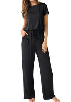 b187f0131f3 Womens Casual O Neck Loose Wide Legs Jumpsuits With Pockets - T1798 Black -  CU185UUZQ6L