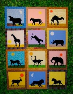 African Safari Animals Quilt Pattern - I love how they are done in silhouette Mais African Art Projects, African Crafts, African Animals, African Safari, Art Carton, African Quilts, African Fabric, Afrique Art, Applique Quilt Patterns