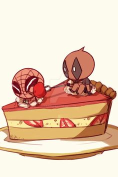 Spider-Man and DeadPool Marvel 3, Marvel Comic Universe, Comics Universe, Marvel Cinematic Universe, Spideypool, Superfamily Avengers, Deadpool X Spiderman, Chibi, Spider Man
