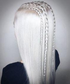 Best 50 Elegant & Cute Platinum Blonde Frisuren im Jahr 2018 White blonde and unique braids White Blonde Highlights, White Blonde Hair, Blonde Ombre, Long White Hair, Ash Blonde, Gray Hair, Blue Hair, Platinum Blonde Hair Color, Blonde Color