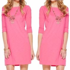 Lilly Pulitzer Cassie Pink cotton dress The perfect casual dress that can be dressed up or down! Perfectly simple with a touch of Lilly with the palm tree logo on thigh. Great condition! Lilly Pulitzer Dresses Midi