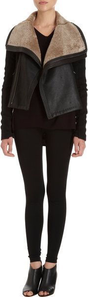 Viva le Jacket !!!! - > VINCE Black Wool And Leather Shearling Moto Jacket - Lyst