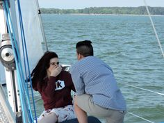 SHE SAID YES - Brent Russell surprised Andrea Lefont with a marriage proposal on the bow of Let's Go Sail. Sailboat Charter, Williamsburg Virginia, Marriage Proposals, Sailing, Cruise, Bow, River, Candle, Arch