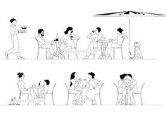 People in Cafe - CAD Blocks, free dwg file. Sketches Of People, Drawing People, Cad Drawing, Line Drawing, Autocad, Sketch Restaurant, Furniture Sets Design, Kindergarten Social Studies, Section Drawing
