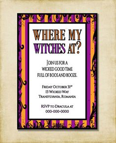 Halloween Party Invitation Where My Witches by AshleyMartinDesigns
