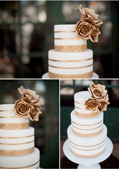 this cake is amazing via StyleUnveiled.com / McCune Photography / Peach and Gold Wedding Ideas