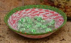 Fabric Rope Coiled Basket: Holiday Christmas Green Red White - Round by HandMadeBySandraM on Etsy