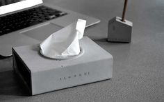 Handmade Solid Concrete  Desk Tissue Box