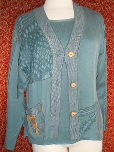 A. SPENCE green 2 Piece long sleeve blouse and camisole S (T20-02D7G) #ASPENCE #Blouse #Casual