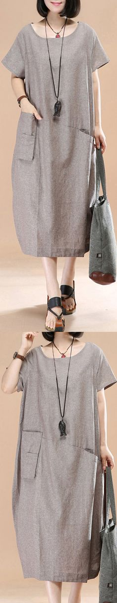 stylish khaki linen shift dress plussize traveling dress women asymmetric short sleeve