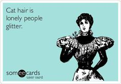 Cat hair is lonely people glitter. ecards