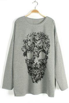 Grey Skull Print Sweater-Shirt - OASAP.com