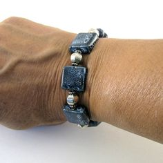 Navy Blue Bracelet Ceramic Bead Silver Beaded by CinLynnBoutique, $24.00