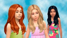The Sims 4 | My Stuff: Long Wavy Hairstyle | base game hairs converted for female child