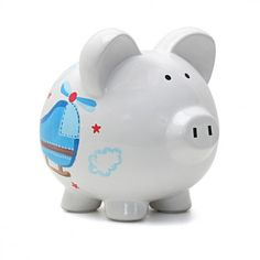 Let your imagination soar with the Personalized Helicopter Piggy Bank--just enter a child's name! Make managing a child's savings fun with this hand-painted, sporty design. Perfect for a nursery, baby shower, birthday and every occasion in between.