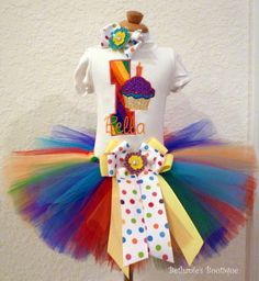 Rainbow Cupcake Birthday Tutu Set. Bright colors.. $50.95, via Etsy.