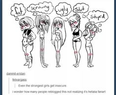 ...This makes me so sad because it's true. A girl will never be perfect to people.<<HETALIA GIRLS ARE PERFECT I LOVE THEM