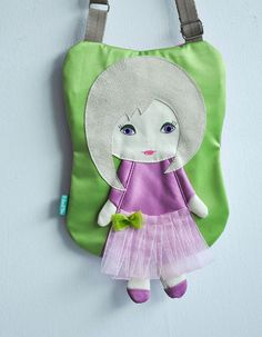 Fairy dolly bag for girls lilac & green manual by NinuMiluBagDolls
