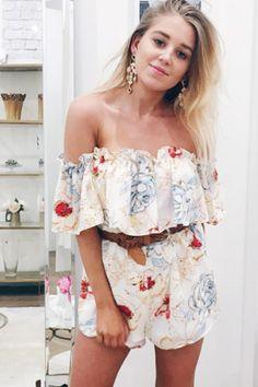 87d40c2d98 Printed shorts Off-shoulder Falbala romper Couture Dresses