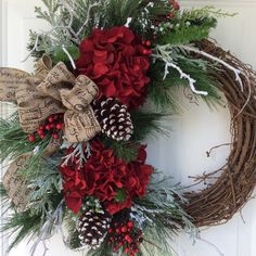 Christmas Wreath-Winter Wreath-Holiday Hydrangea Wreath-Designer Wreath-Snowy Wreath-Traditional Wreath-Berry Wreath  This beautiful, sophisticated wreath is a nod to all the traditional elements of the Christmas holiday. Abundant pine boughs, snow covered white pine and frosty cedar branches create a lush evergreen bed on which rests spectacular rich red hydrangea, clusters of vibrant red berries, snowy birch branches and festive snow-tipped pine cones. An understated vintage look linen bow…