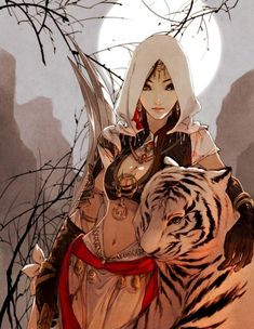 girl with tiger #anime illustration