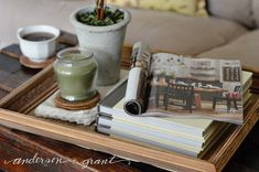 Tutorial on how to make a tray out of a wood picture frame and reclaimed wood. Wood Picture Frames, Picture On Wood, Fun Ideas, Craft Ideas, Wood Tray, Trays, Thrifting, Upcycle, New Homes