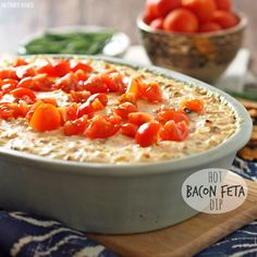 Hot Bacon Feta Dip is one of my favorite gameday appetizers! Easy and delicious dip for any get together or holiday.