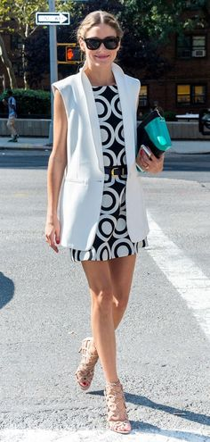 Exactly how to wear a long vest, Olivia Palermo style