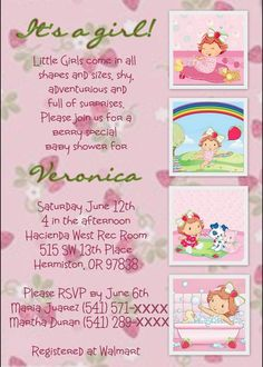 Strawberry Shortcake Baby Shower Invite...I like the wording not so sure about the invite look